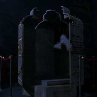 The sarcophagus on display in the <a href=