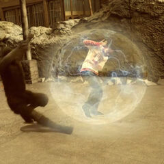 Leo uses his forcefield against the ninja
