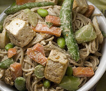 Soba Noodles with Spicy Tofu Peanut Sauce