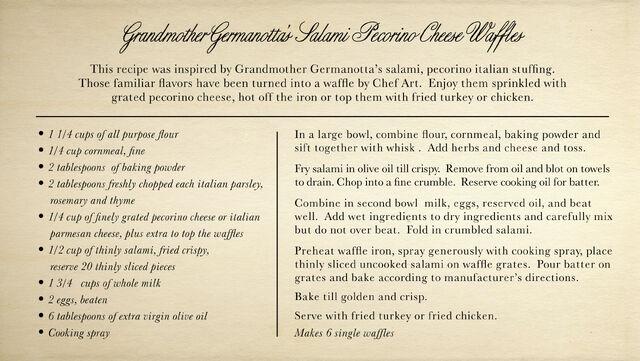 File:Grandmother Germanotta's Salami Pecorino Cheese Waffles.jpg