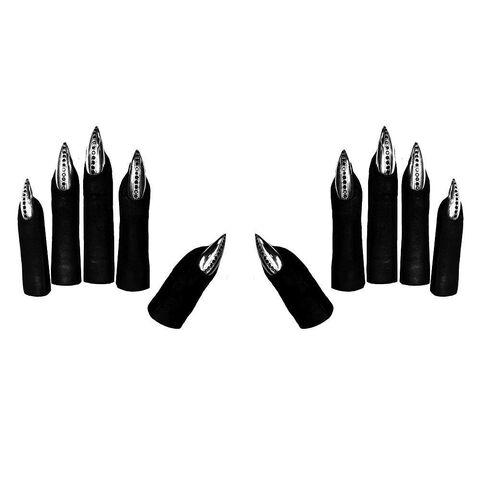 File:Majesty Black - Finger tips, solid Ssterling silver stiletto nails with Swarovski crystals.jpg