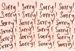 An apology title card
