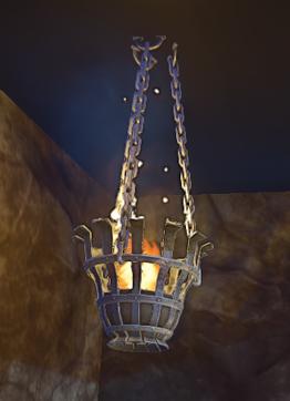 Landmark Hanging Iron Brazier prop placed