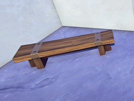 Wooden Bench prop placed