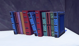 Landmark Row of Heavy Red Books prop placed