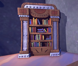 Rustic Bookcase prop placed