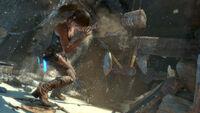 Lara Near a Collapsing Mine