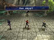 Strong man running away