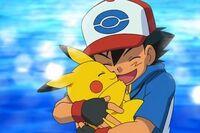 Ash and pikachu hug