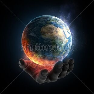 Stock-photo-an-illustrated-hand-holding-a-burning-earth-96489191