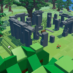 A Brickhenge with a regular treasure chest in the middle.