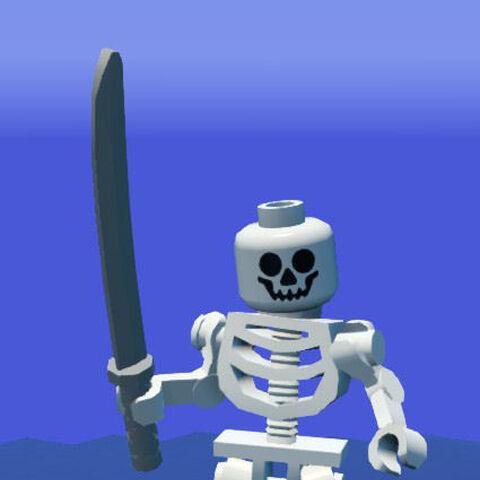 Skeleton holding an Ninja Sword.