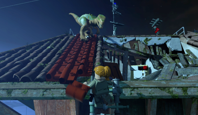 File:LEGO Jurassic World The Videogame Sarah and Raptor.png