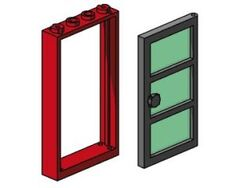 B003-Red Frame, Black Door, Green Pane