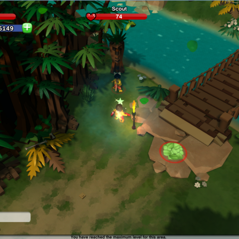 A scout in Isle of Yarr, with the trap at the lower part of the screen (the one with the red circle).