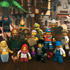 Aztec Warrior with group of minifigures. (back row)
