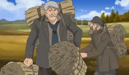 Valjean Carries Hay Bales