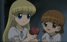 Charlotte & Cosette Eating Apple