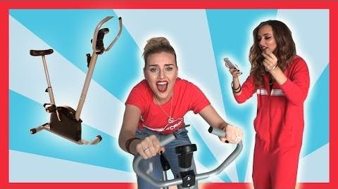 Little Mix's Perrie takes on the Sport Relief Exercise Bike Challenge