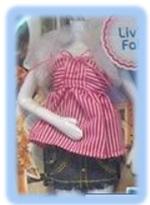 Candy striped top & denim skirt