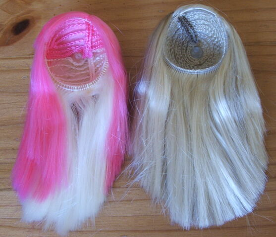 File:Two wigs pinkblonde and blonde.jpg
