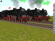 Three of FS Gr 691 Pacific-type Steam locomotives lined up with three section