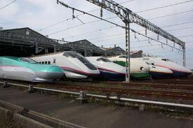 JR East Shinkansen lineup at Niigata Depot