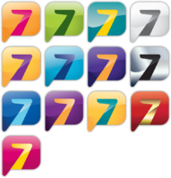 Azteca 7 logo variants