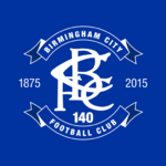 Birmingham City FC logo (140th anniversary, on blue)