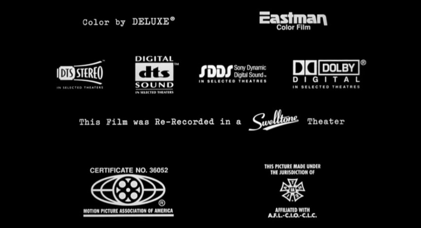 Sdds Credits: Out Of Sight Eastman DTS Stereo DTS Digital SDDS