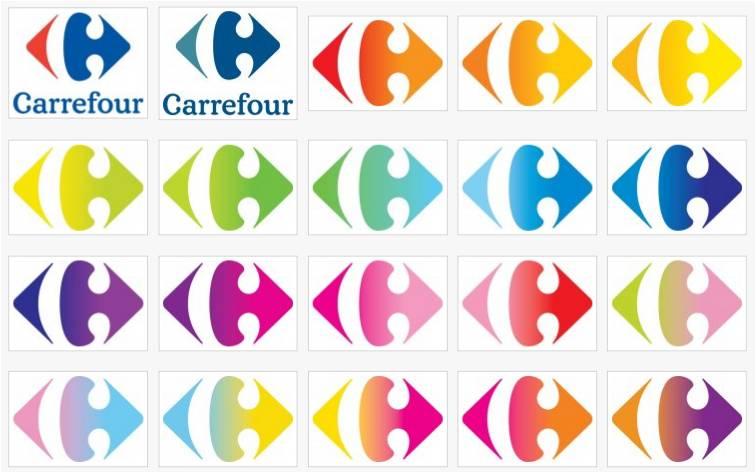 Logo Carrefour en plusieurs couleurs
