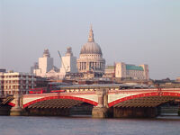 Blackfriars Bridge, River Thames, London, with St Pauls Cathedral