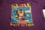 Vintage 90s Taz Surf Big Wave Action T-Shirt Looney Tunes XL Artex Surfing Purple