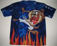 Looney Tunes Tasmanian Devil Shirt Button Front Taz Men's Small