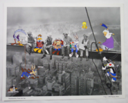 1999 Toon Art Looney Tunes Lunch Break Atop a Skyscraper Lithograph Print