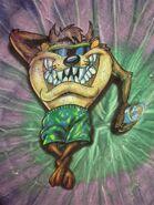 TAZ psychedelic T shirt XL Looney Tunes tie-dye tee poolside Tasmanian Devil