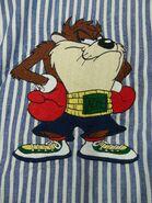 Acme Looney Tunes Taz Shirt Large Boxer Boxing Blue White Embroidered