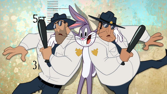 File:Bugs Poses with Two Officers.png