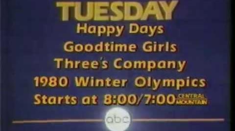 Happy Days Goodtime Girls & Three's Company 1980 ABC Promo