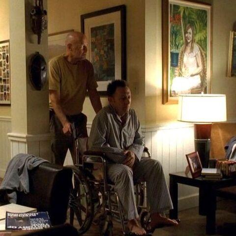 Locke e Ben passam pelo quadro