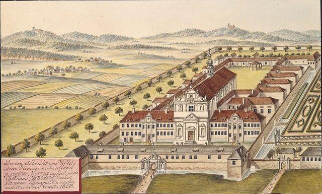 File:Die von Albrecht von Waldstein Herzog von Friedland gestiftete, Ao 1782 aufgehobene Carthaus Walditz naechst Gitschin, Bidczow. Kr. nachg.jpg