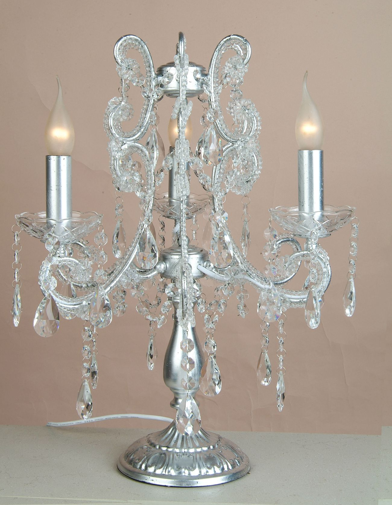 image silver 3 branch chandelier table lamp julianne 1003