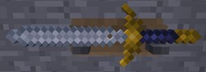 Gondolinian Sword in weapon rack on stone wall