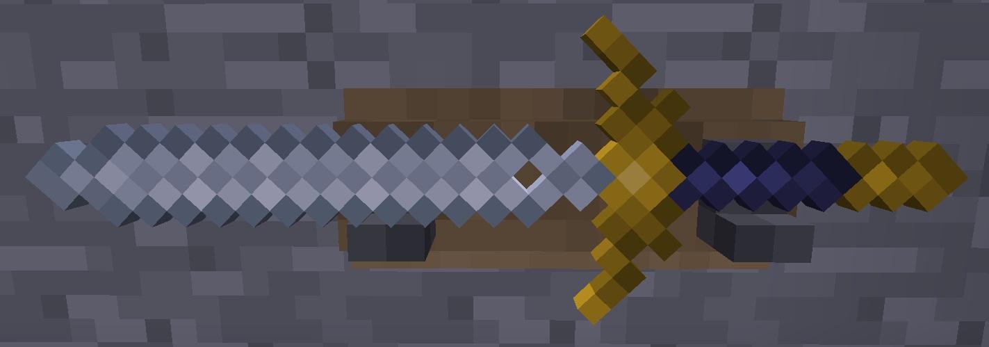 Gondolinian Sword in weapon rack on stone wall.jpg