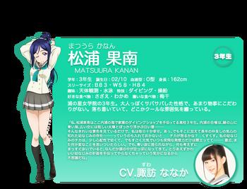 Sunshine!! character intro - Matsuura Kanan.png