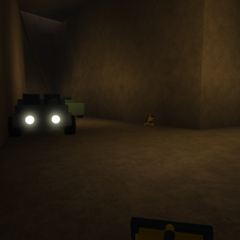 The Cave filled with Worklights and 2 Cars credit to 1011025m, panpoppular, and for the pic (Before Taiga Mountain Passage Extended its rocks)