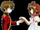 Card Captor Sakura Sakura and Syaoran pose