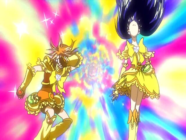 File:Futari wa Pretty Cure Max Heart Golden Cure Black and White in the Extreme Luminario attack.jpg