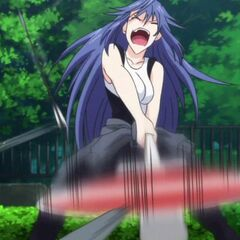 Tatsuko swats away Miyako's arrows (Anime)