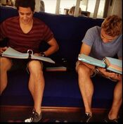 Zac and Cam studying